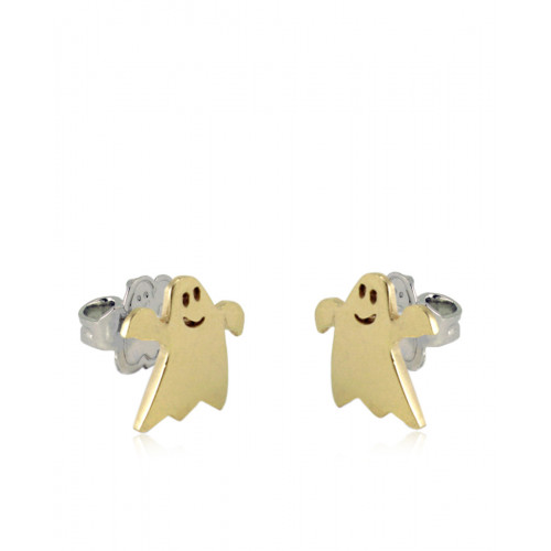 Pendientes Clarity Ghost Happy de plata de primera ley ghost liso