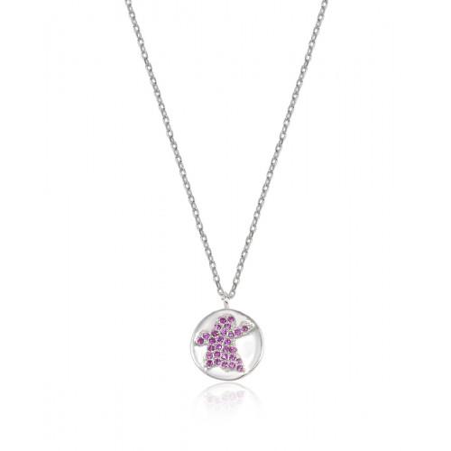 Collar Clarity Ghost de plata de primera ley y circonitas rosas