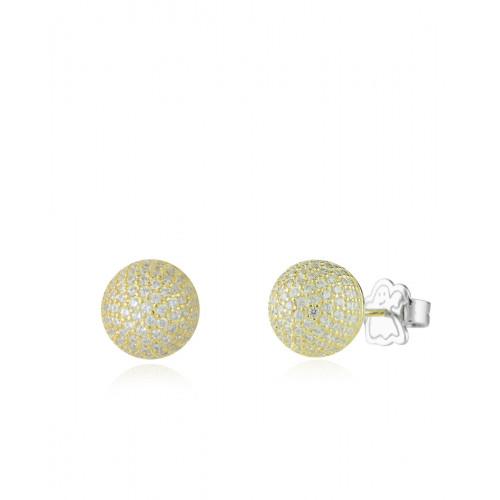 Pendientes Clarity Ghost Gold Mani Ball  Casual de plata de primera ley y circonitas