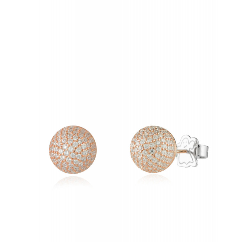 Pendientes Clarity Ghost Pink Mini Ball Casual de plata de primera ley y circonitas