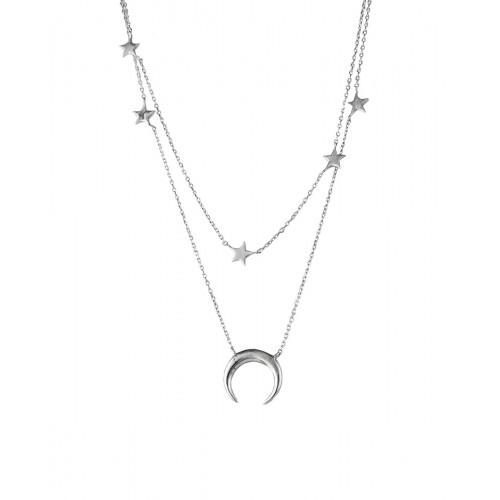 Collar Clarity Ghost Csual de plata de primera ley liso