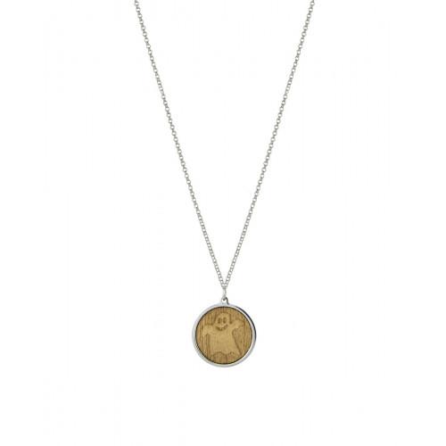 Collar Clarity Ghost Bellissimo de plata de primera ley y madera